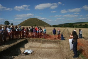 Double enclosure ditch with Silbury Hill in the background